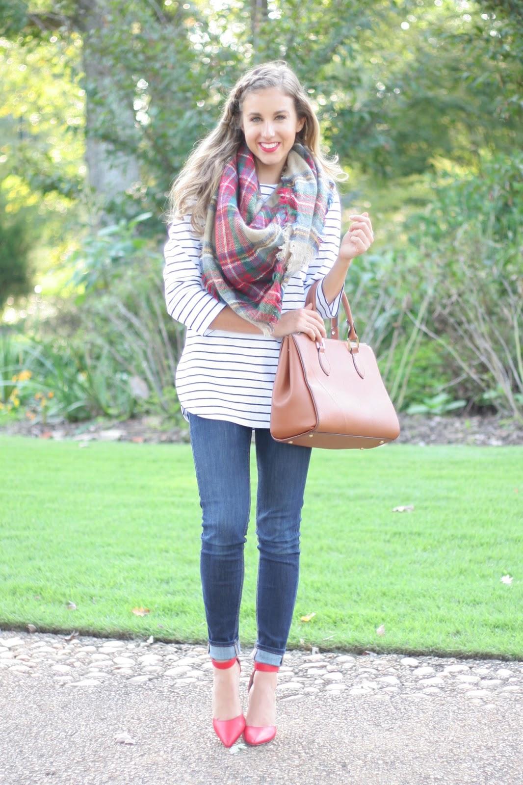Layering Prints: Stripes & A Plaid Blanket Scarf