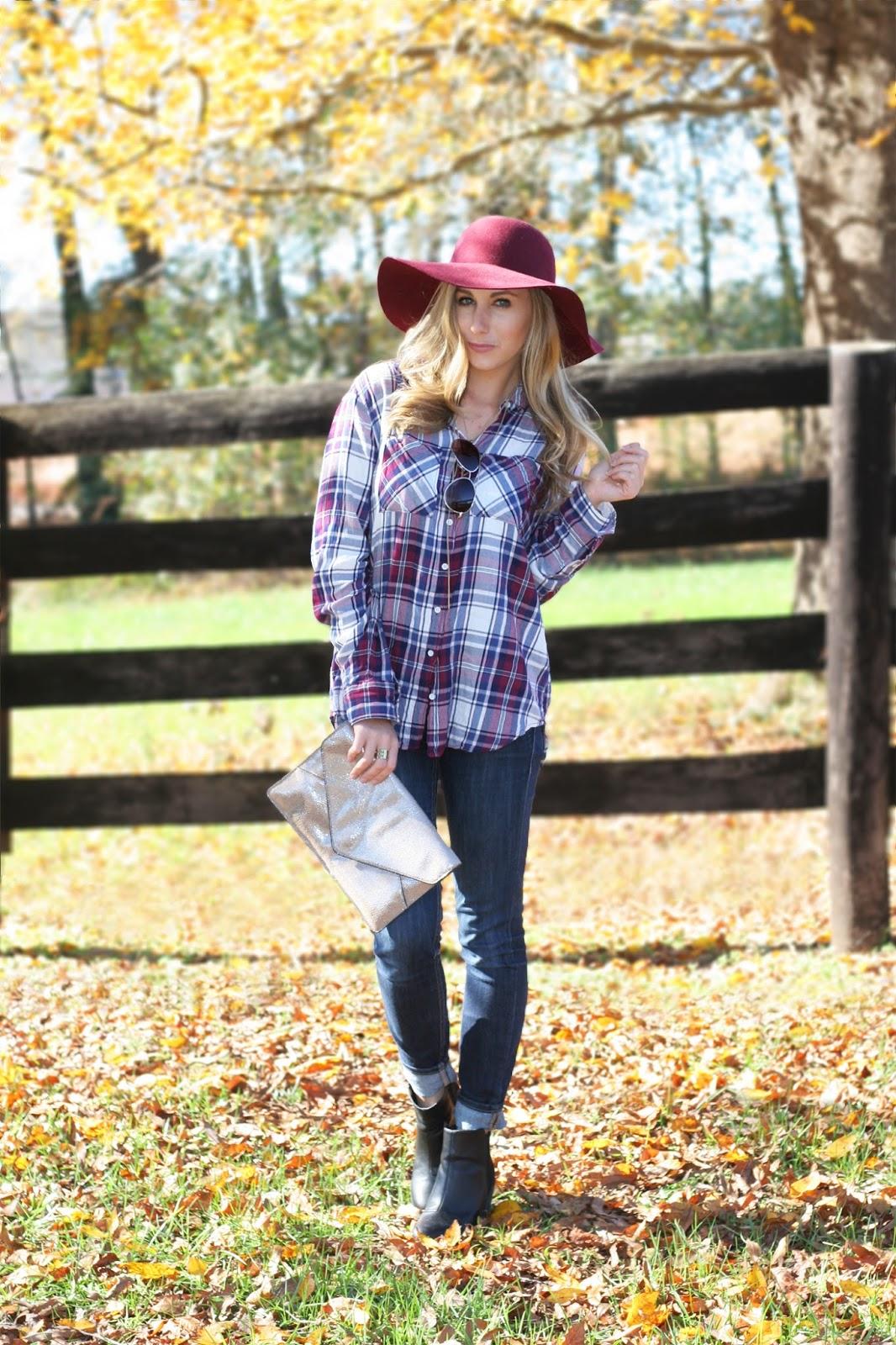 burgundy-floppy-felt-hat-with-plaid-button-up-shirt