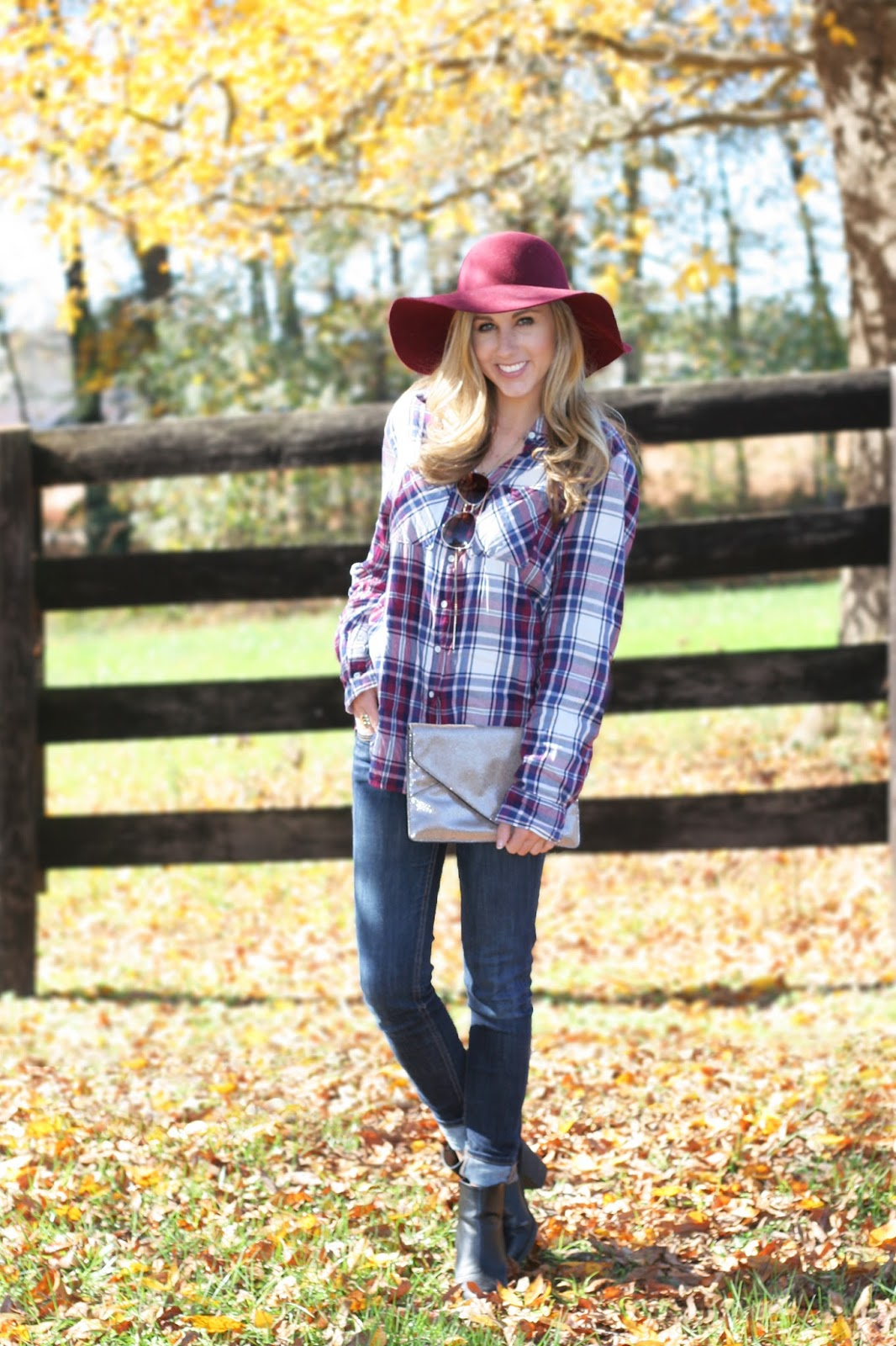 marsala-and-navy-plaid-button-up-with-felt-floppy-hat