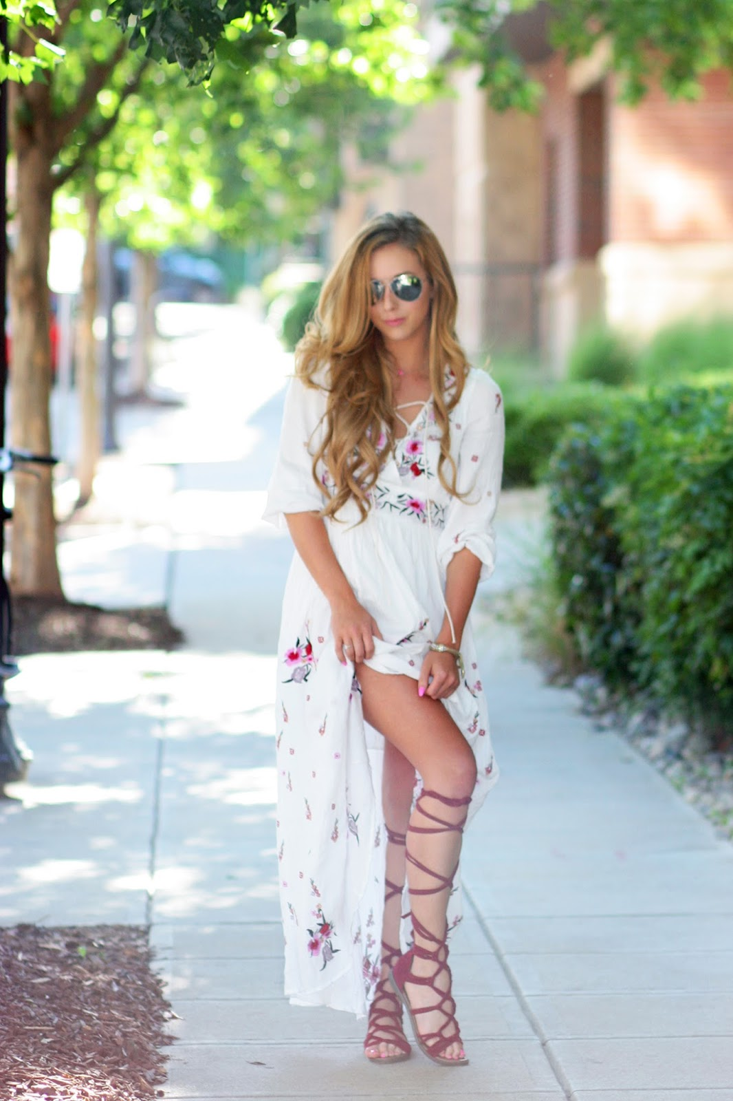 The Perfect Boho Maxi & How to Style Lace Up Sandals Sara