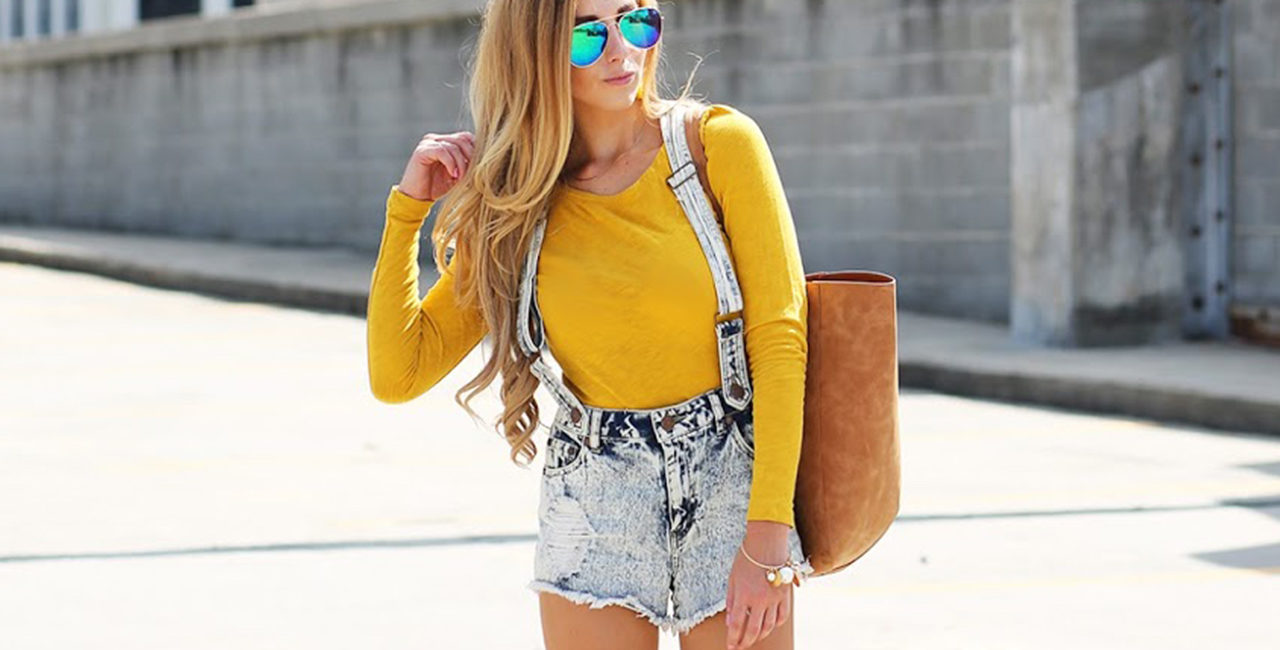 Distressed Denim Overall Shorts