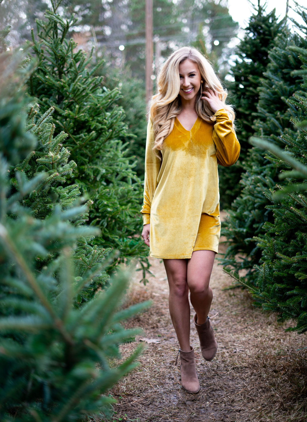 Yellow Velvet Christmas Dress