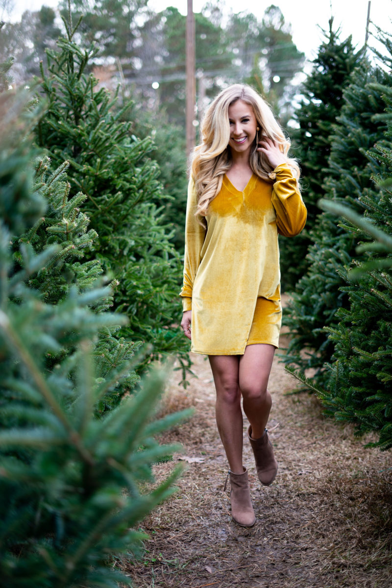 Yellow Velvet Christmas Dress
