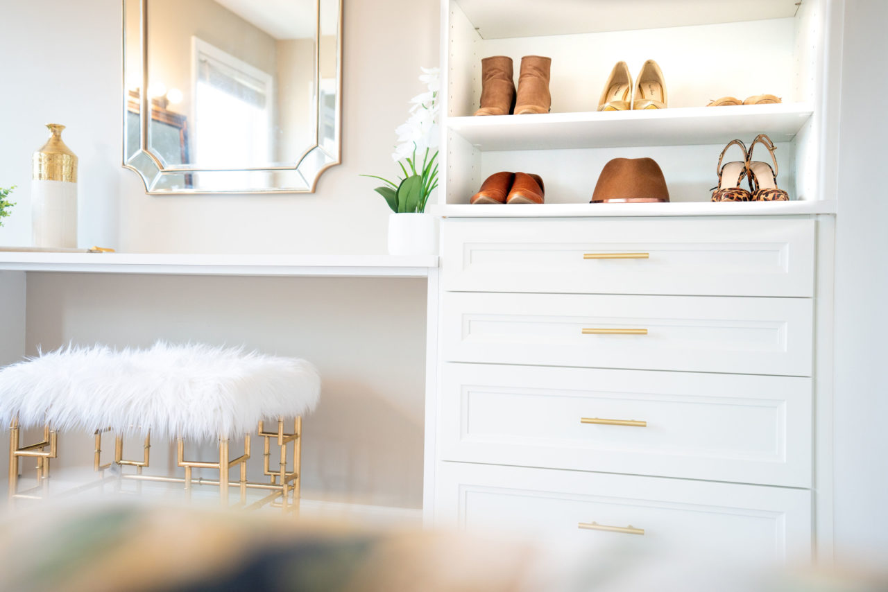 California closets gold drawer fixtures