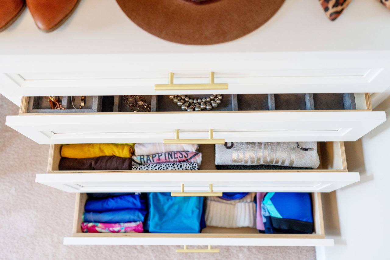 Organized closet drawers