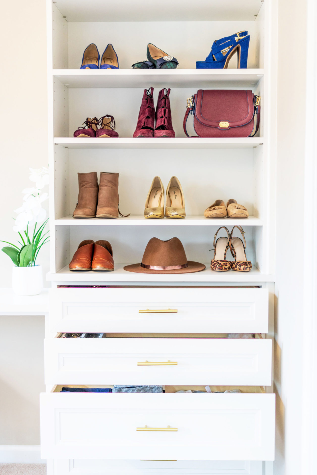 Shoe and accessory closet storage