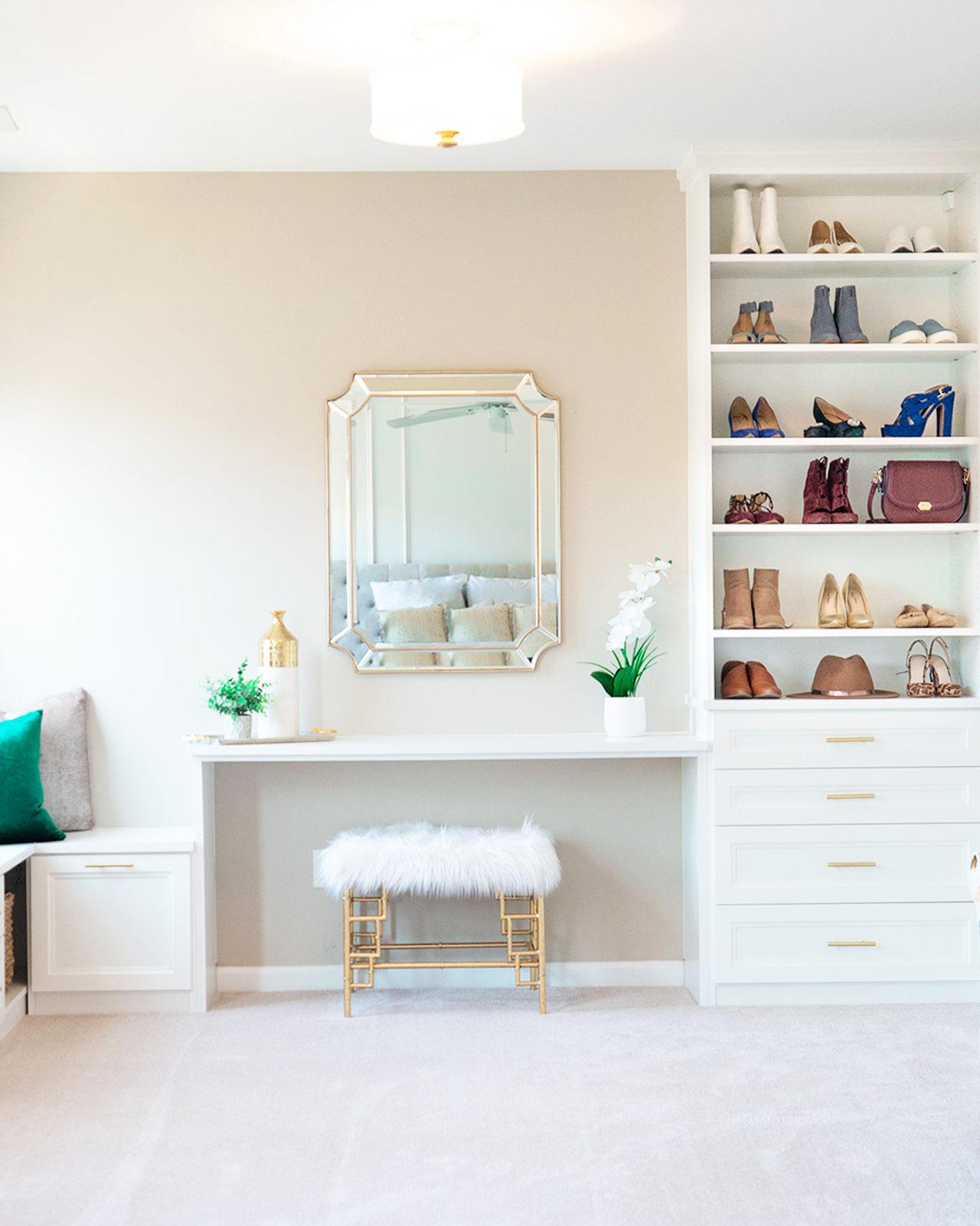 NC Blogger Shoe closet and vanity