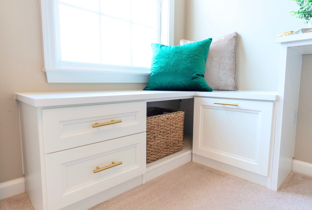 built in bench with drawers