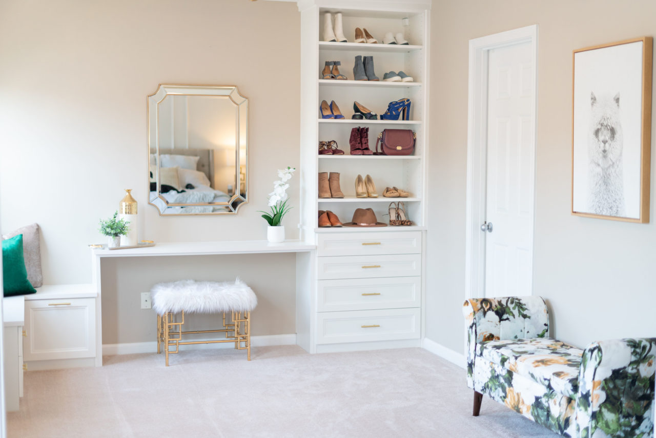 custom vanity and shoe closet